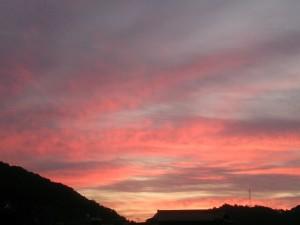 今朝の朝焼け。起きるのがいつもより遅かった分、見れた(笑)