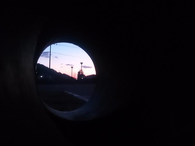 穴から見た今朝の朝陽