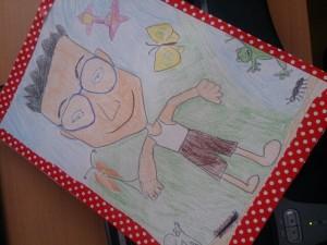 僕の似顔絵~娘と妻が書いてくれた。…若干、メガネがイヤらしく見える!?(笑)