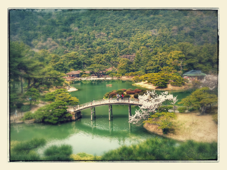 何年か前にオヤジと (娘も)一緒に行った高松の栗林公園~桜の時期だった思う